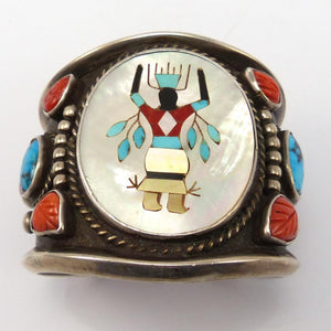 1960s Multi-Stone Inlay Cuff, Vintage Collection, Jewelry, Garland's Indian Jewelry