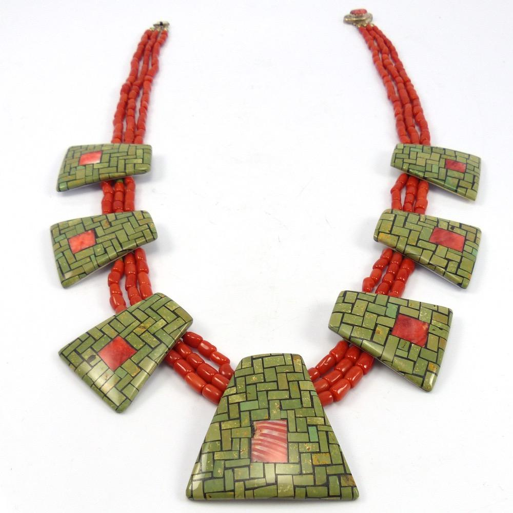 Coral and Turquoise Tab Necklace – Garland\'s Indian Jewelry