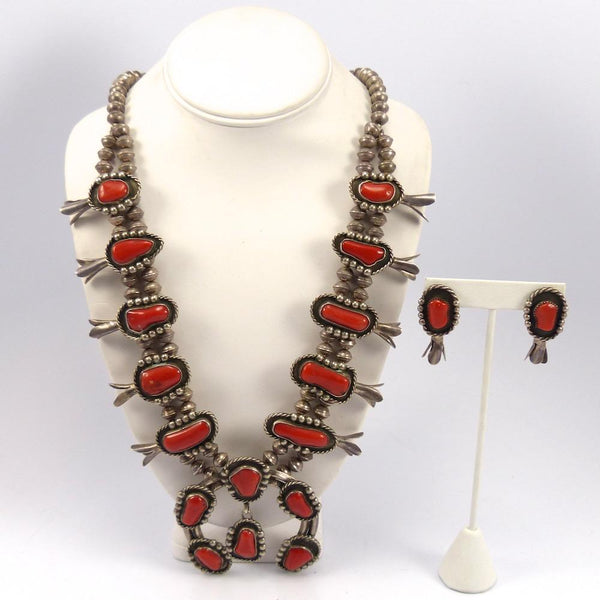 1970s Coral Squash Blossom Set, Vintage Collection, Jewelry, Garland's Indian Jewelry