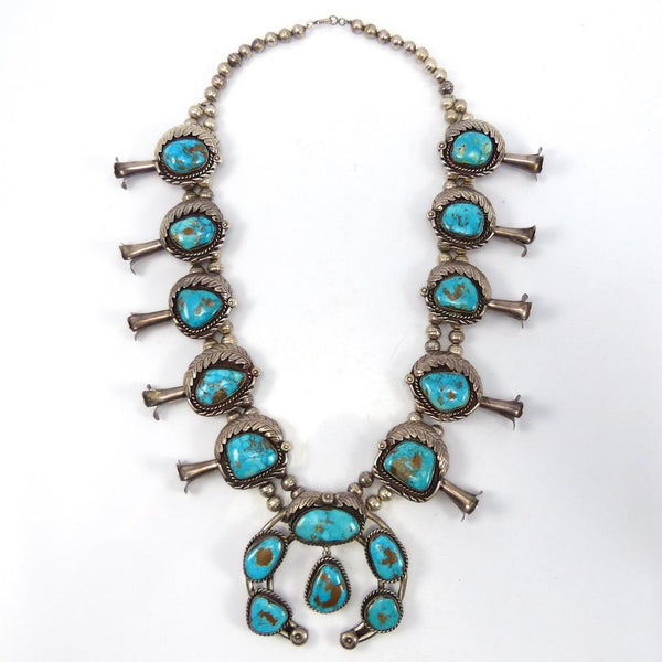1970s Turquoise Squash Blossom Necklace, Vintage Collection, Jewelry, Garland's Indian Jewelry
