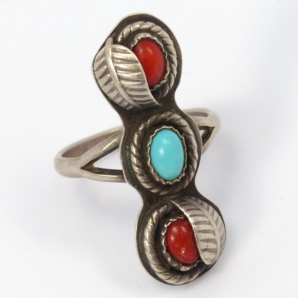 1970s Turquoise and Coral Ring