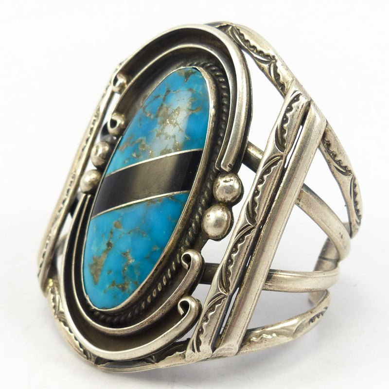 Turquoise and Onyx Cuff
