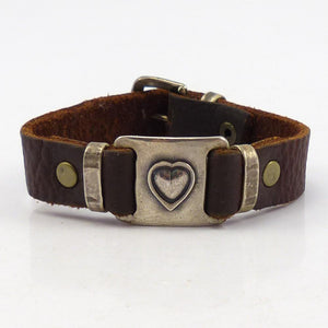 Silver Heart and Leather Bracelet