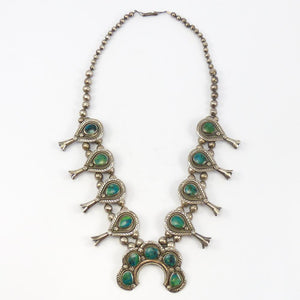 1970s Chrysocolla Squash Blossom Necklace