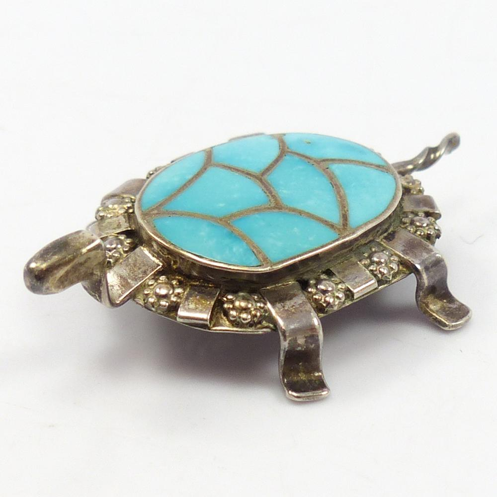1980s Turtle Inlay Pin