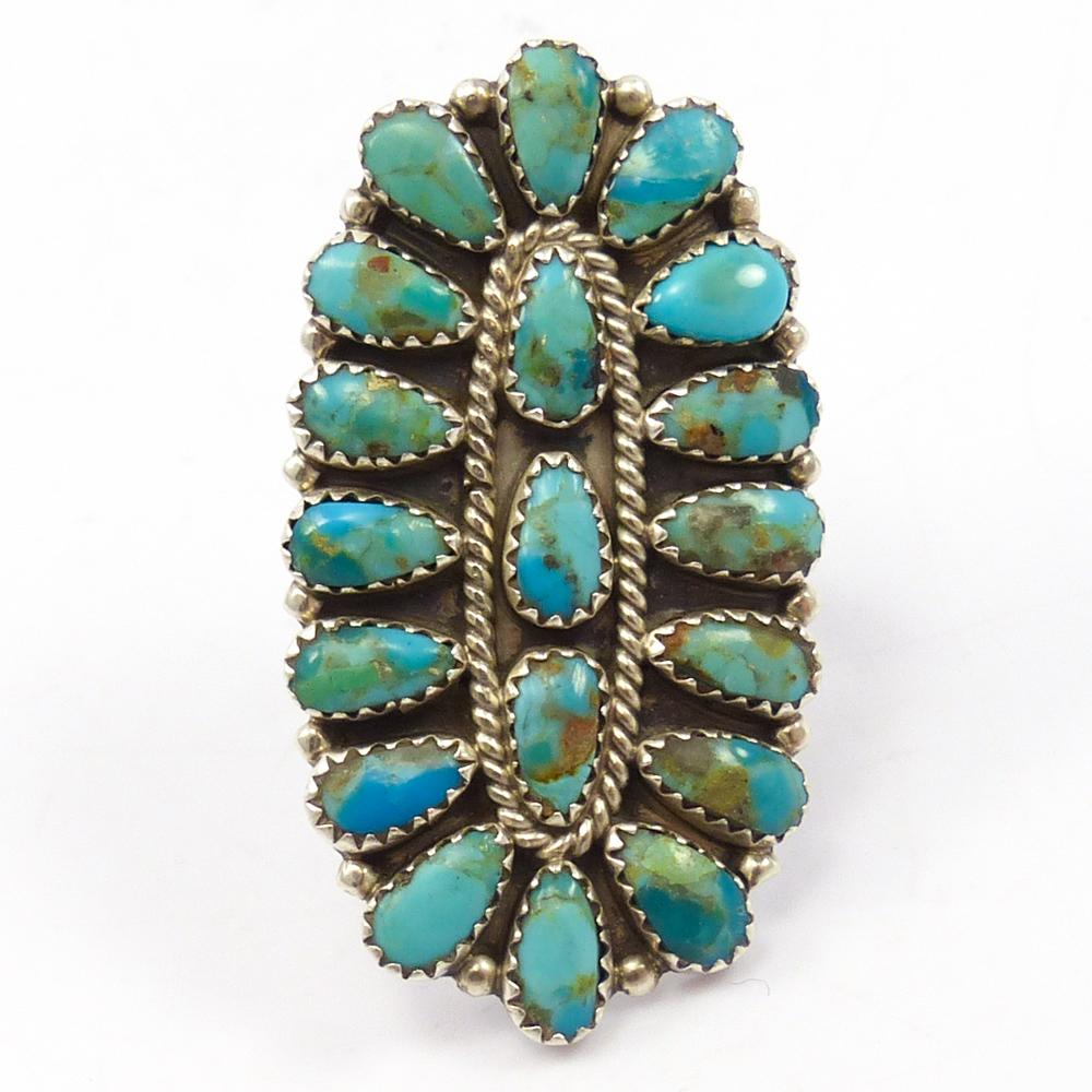 1970s Cluster Turquoise Ring