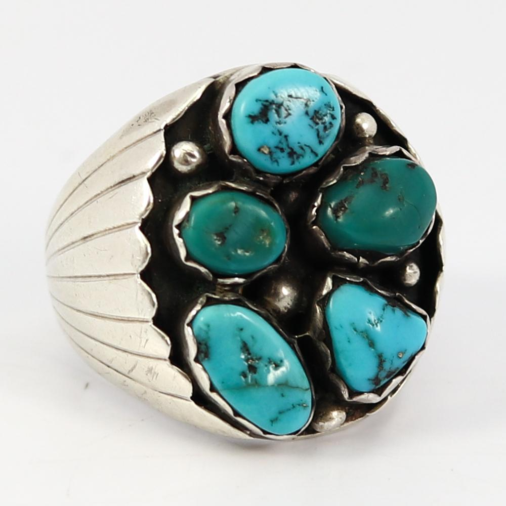 1970s Turquoise Cluster Ring