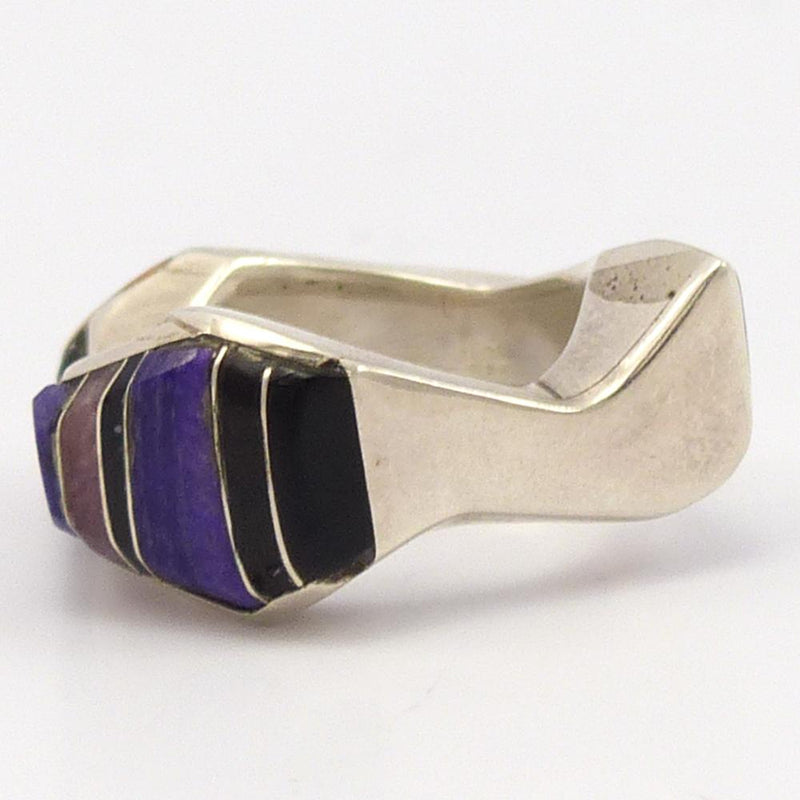 Sugilite and Coral Ring