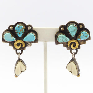 Turquoise and Fossilized Ivory Earrings