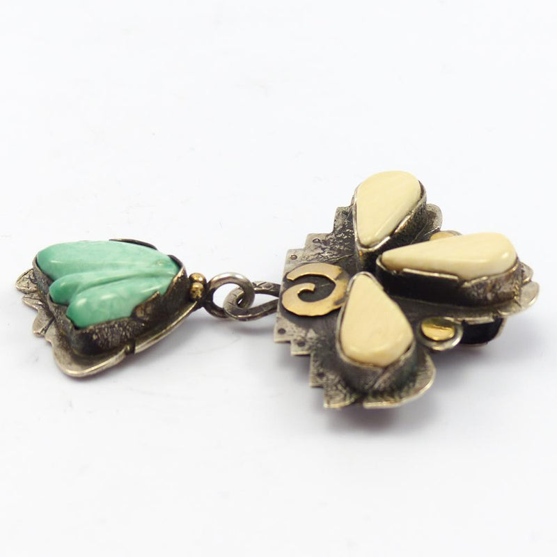 Turquoise and Fossilized Pin and Pendant