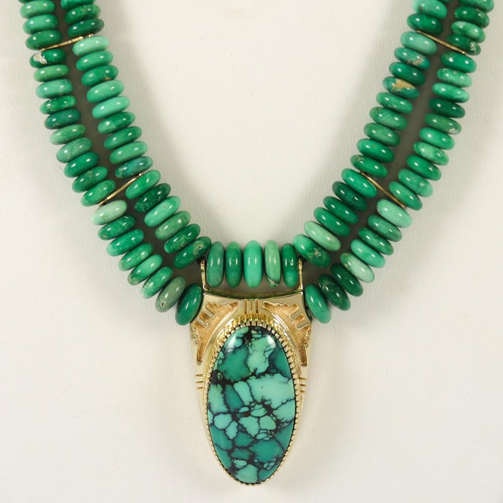 Variscite and Gold Necklace