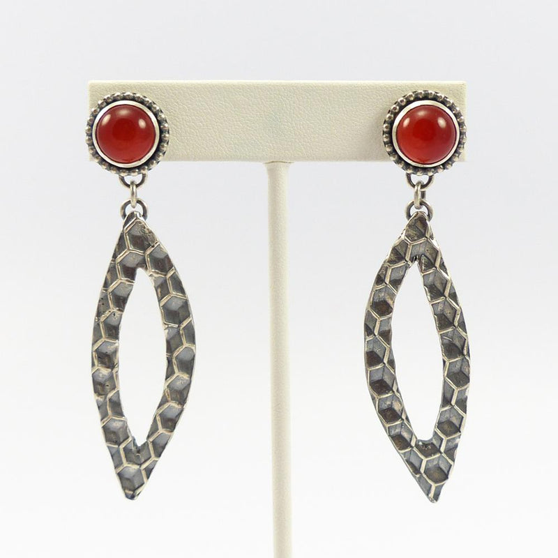 Coral Honeycomb Earrings