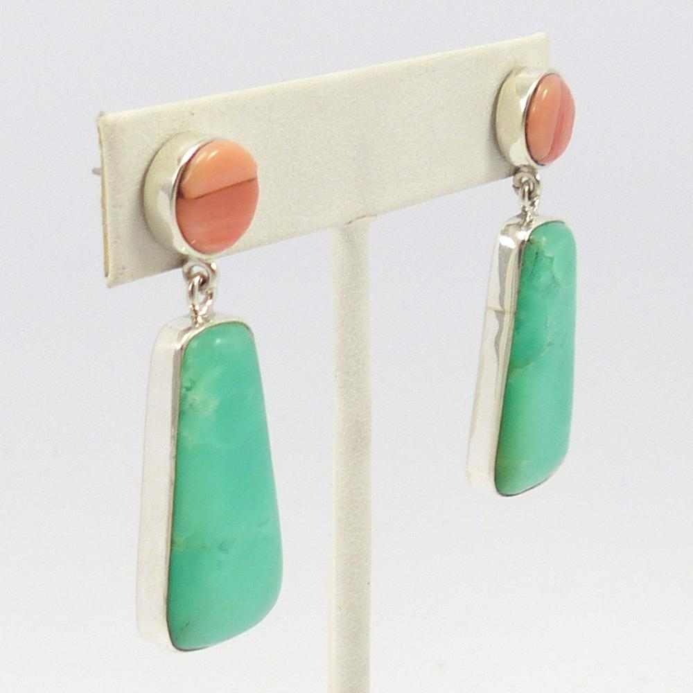 Coral and Chrysoprase Earrings