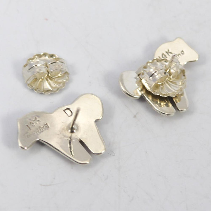 Gold on Silver Horse Earrings