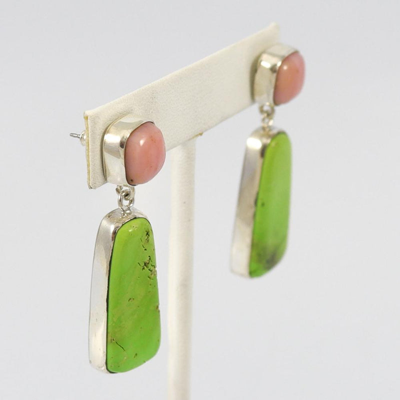 Gaspeite and Peruvian Opal Earrings