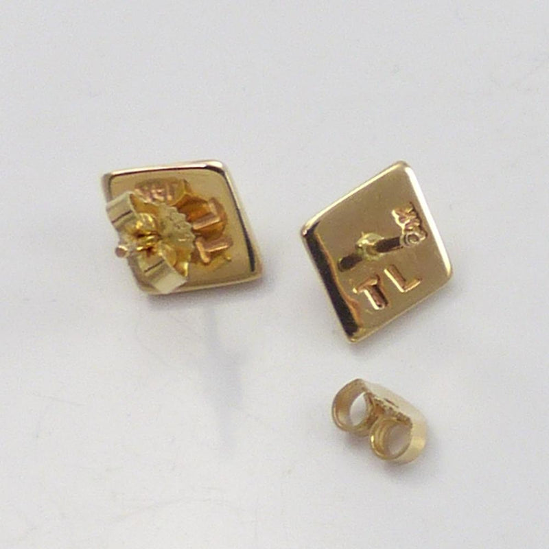 Gold Diamond Button Earrings