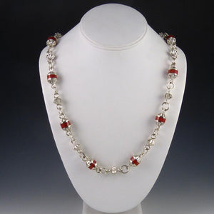 Coral Inlay Bead Necklace