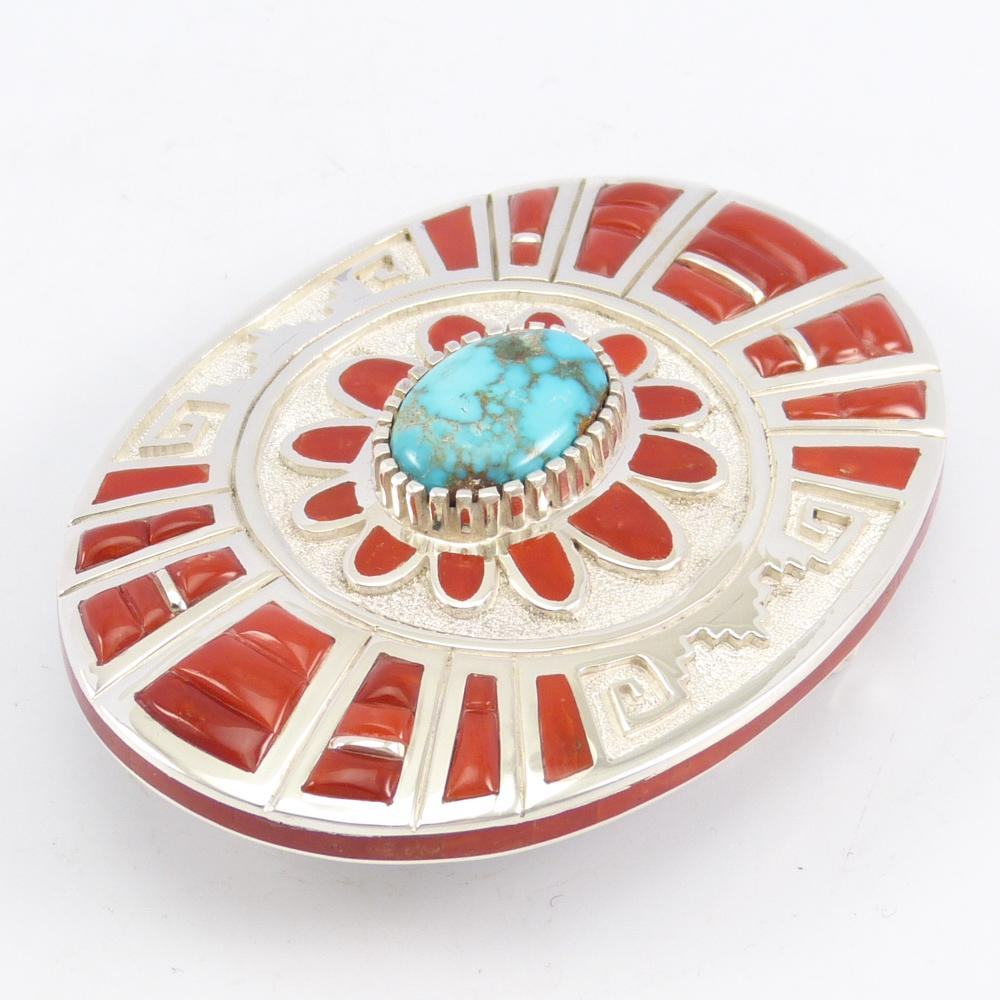 Kingman Turquoise and Coral Buckle