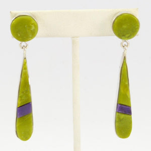 Serpentine and Sugilite Earrings
