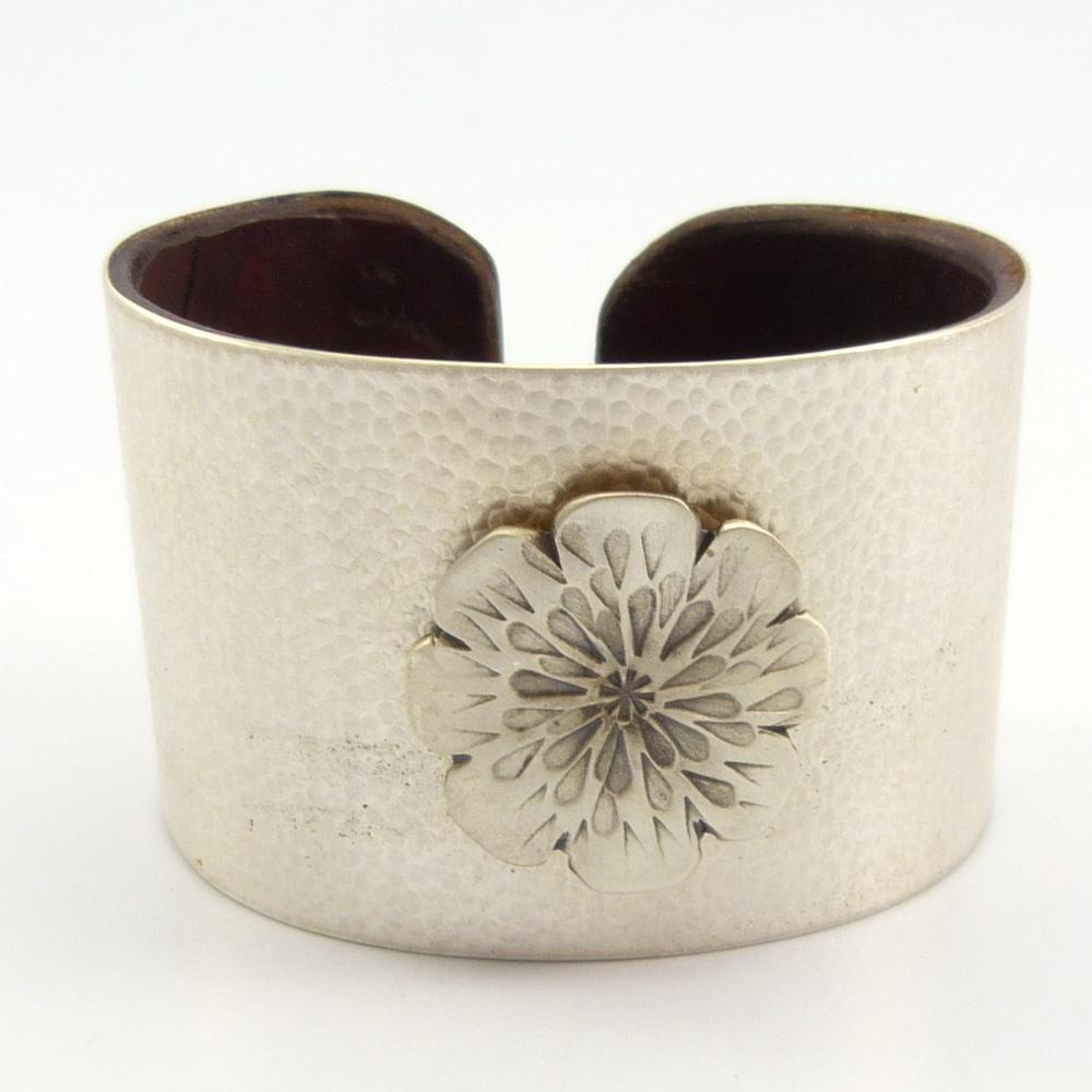 Silver on Leather Cuff