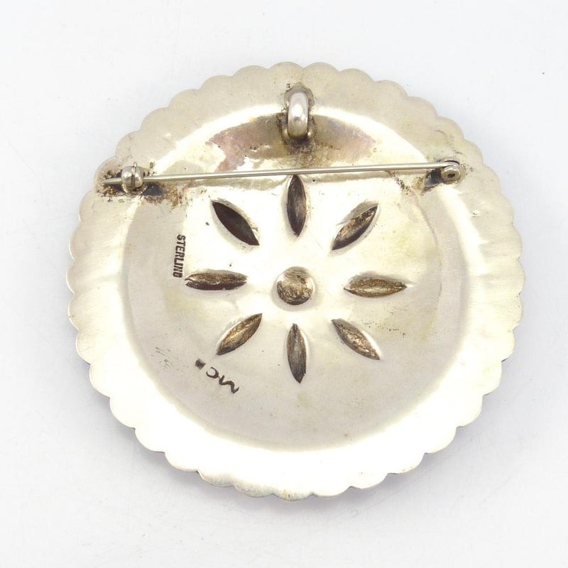 Stamped Silver Pin and Pendant