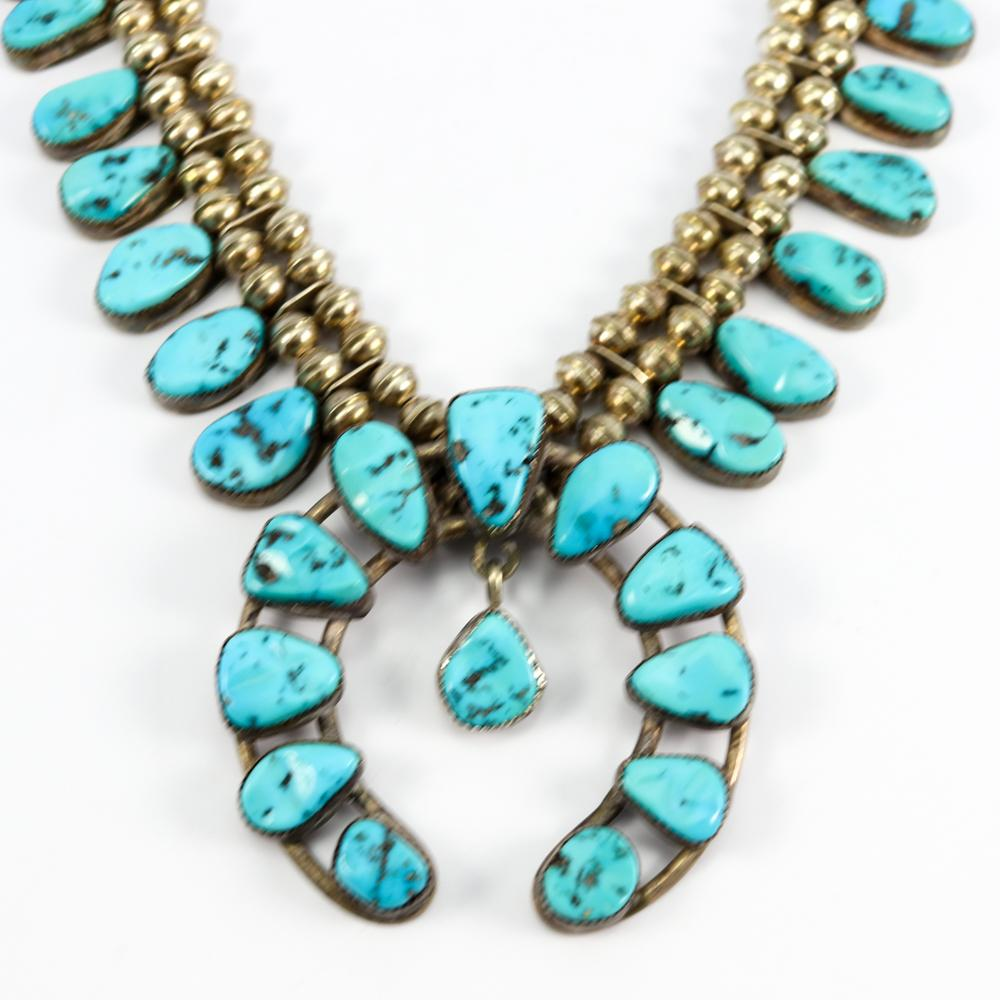 1970s Sleeping Beauty Turquoise Squash Blossom Necklace