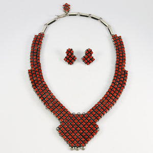 Coral Necklace and Earring Set