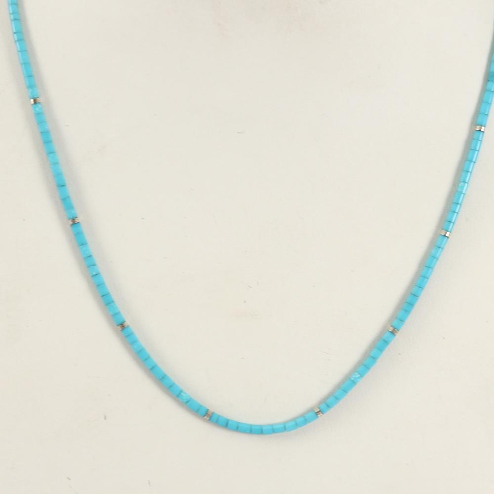 Sleeping Beauty Turquoise Heishi Necklace