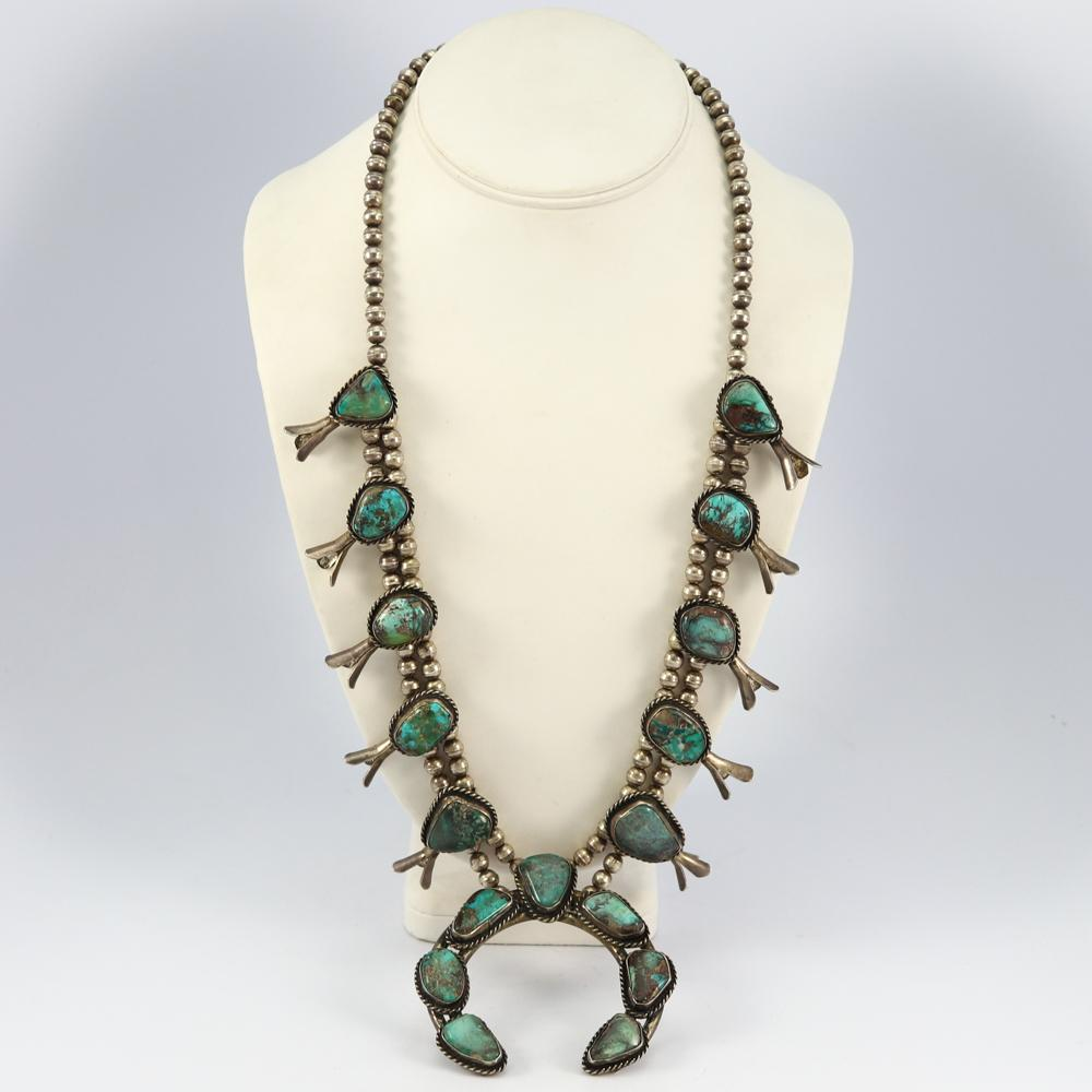 1960s Bisbee Turquoise Squash Blossom Necklace