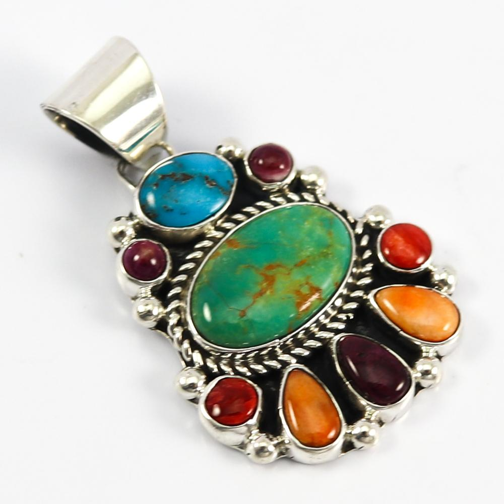 Turquoise and Spiny Oyster Shell Pendant