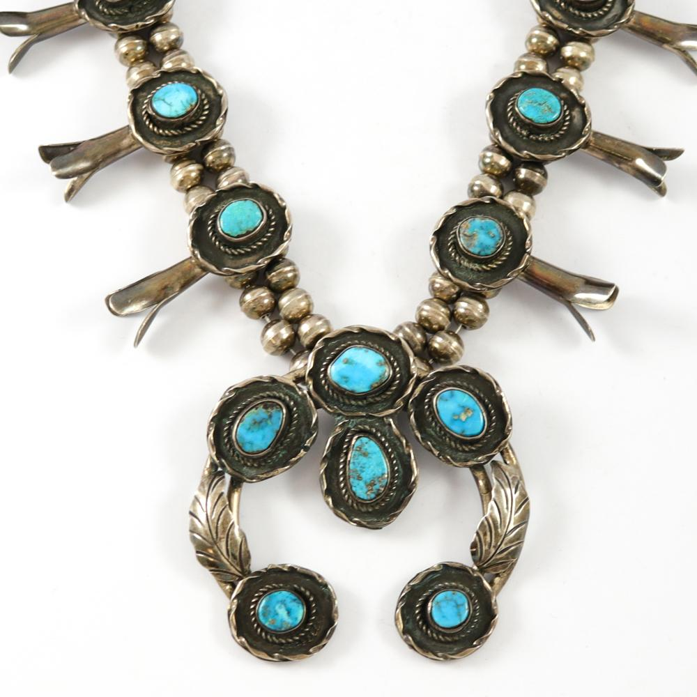 1970s Morenci Turquoise Squash Blossom Necklace