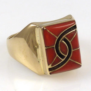 1980s Gold and Coral Butterfly Ring - Jewelry - Amy Quandelacy - 2
