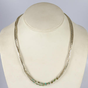 Silver and Turquoise Heishi Necklace