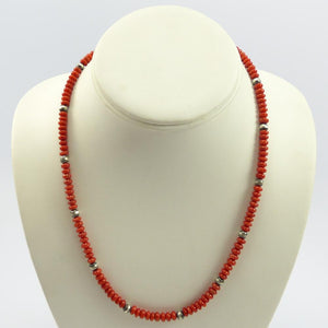 Coral and Silver Bead Necklace