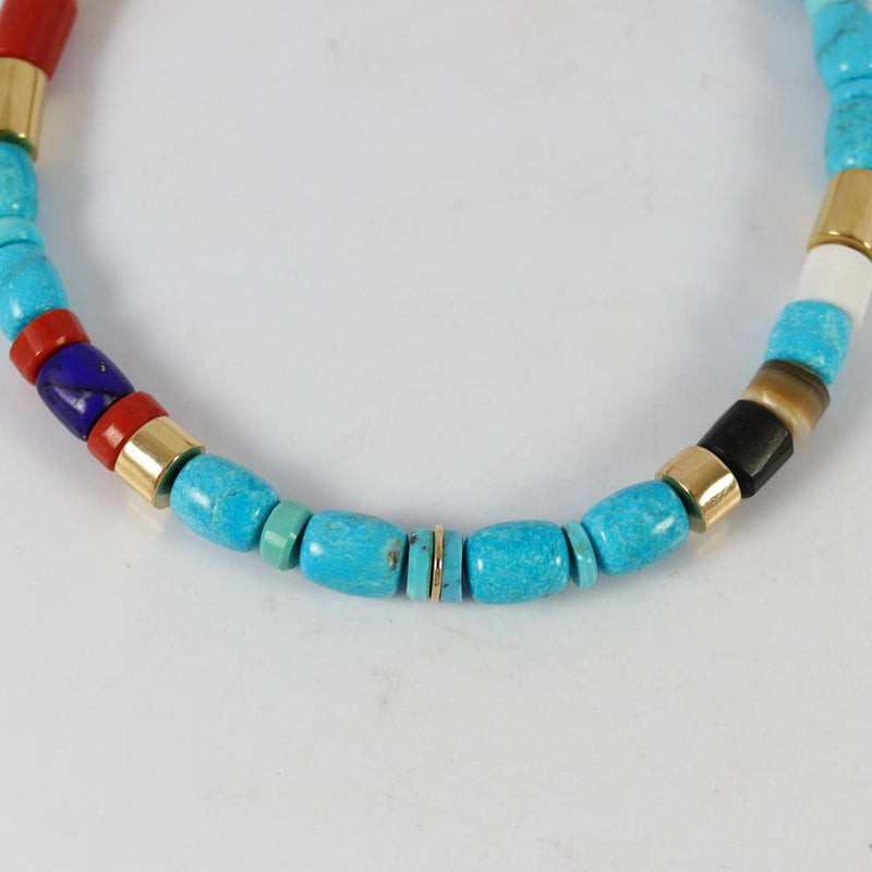 Coral, Turquoise, and Gold Necklace