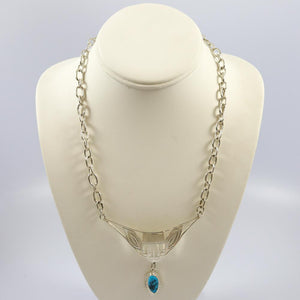 Stamped Silver Necklace with Turquoise