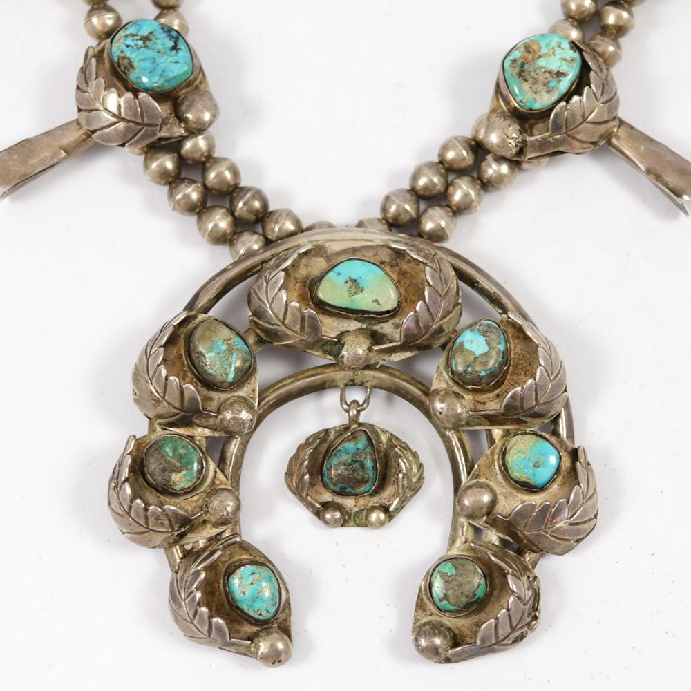 1970s Turquoise Squash Blossom Necklace