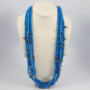 Blue Heart Trade Bead Necklace