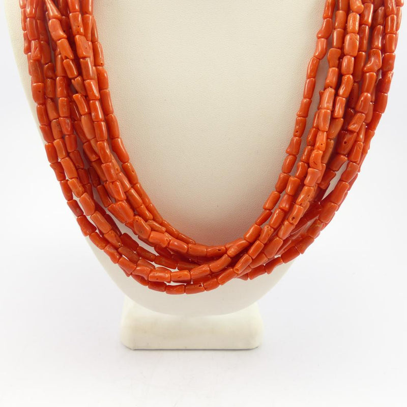 Coral Barrel Bead Necklace