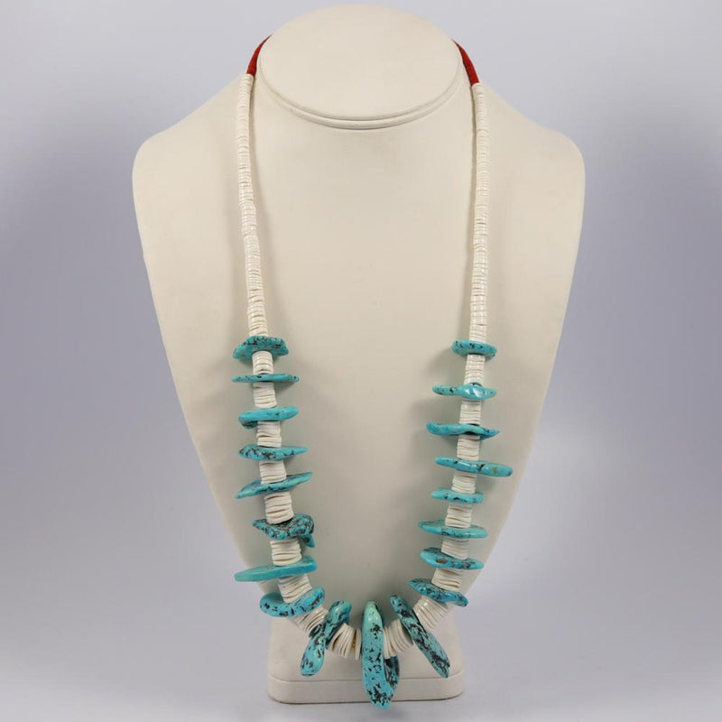 1970s Turquoise and Shell Necklace