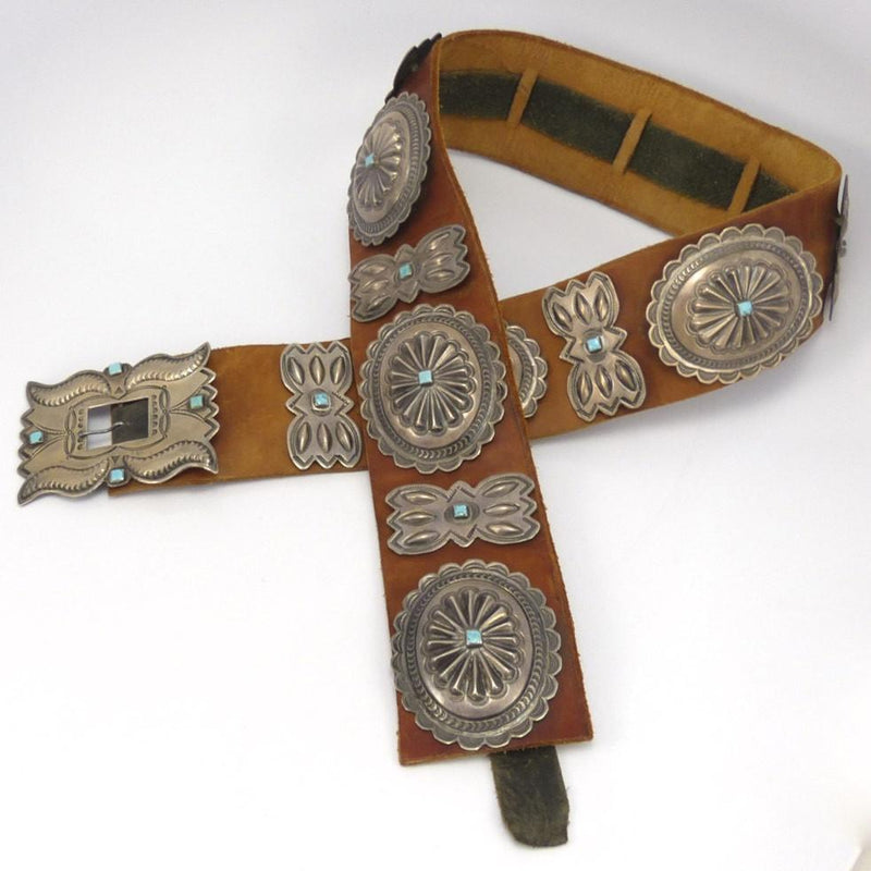 1940s Repousse and Turquoise Concha Belt