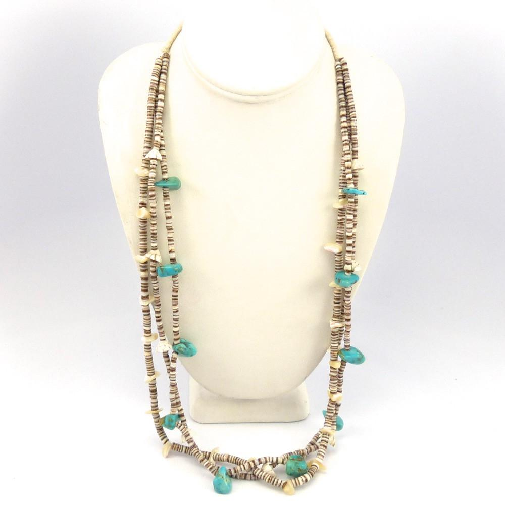 ramona and santo olive village turquoise necklace shell coral heishi domingo by products bird
