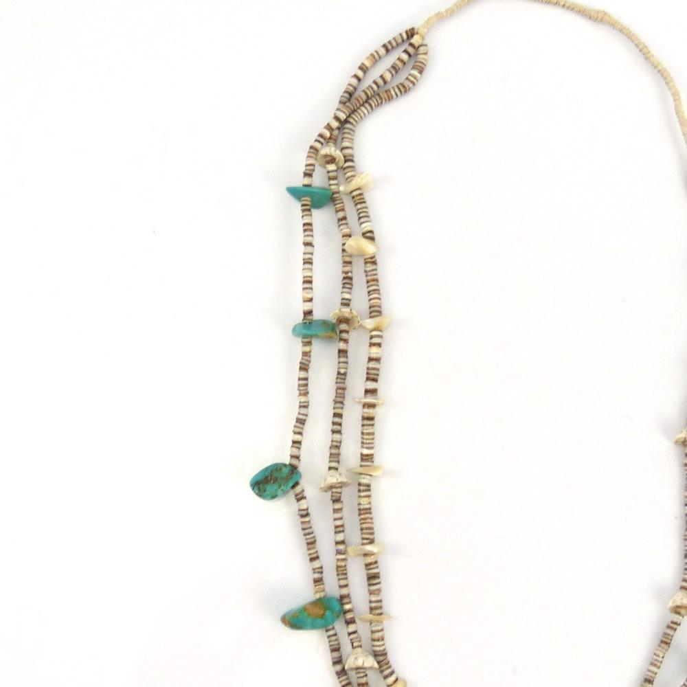 domingo necklace front by shell santo olive heishi ramona byrd