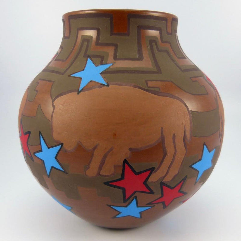Santa Clara Bison and Star Vase