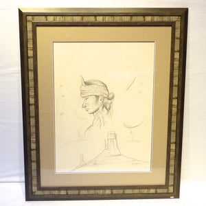 Original 1960s Pencil Drawing, Beatien Yazz, More, Garland's Indian Jewelry