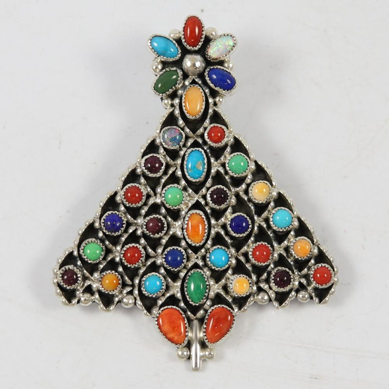 Multi-stone Christmas Tree Pin