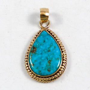 Gold Morenci Turquoise Pendant