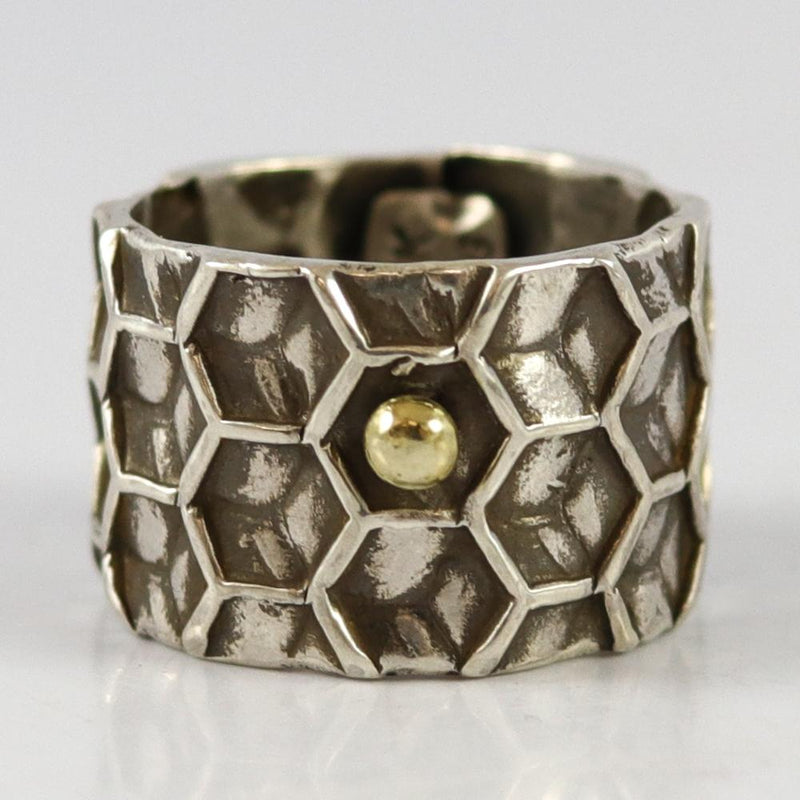 Honeycomb Silver and Gold Ring