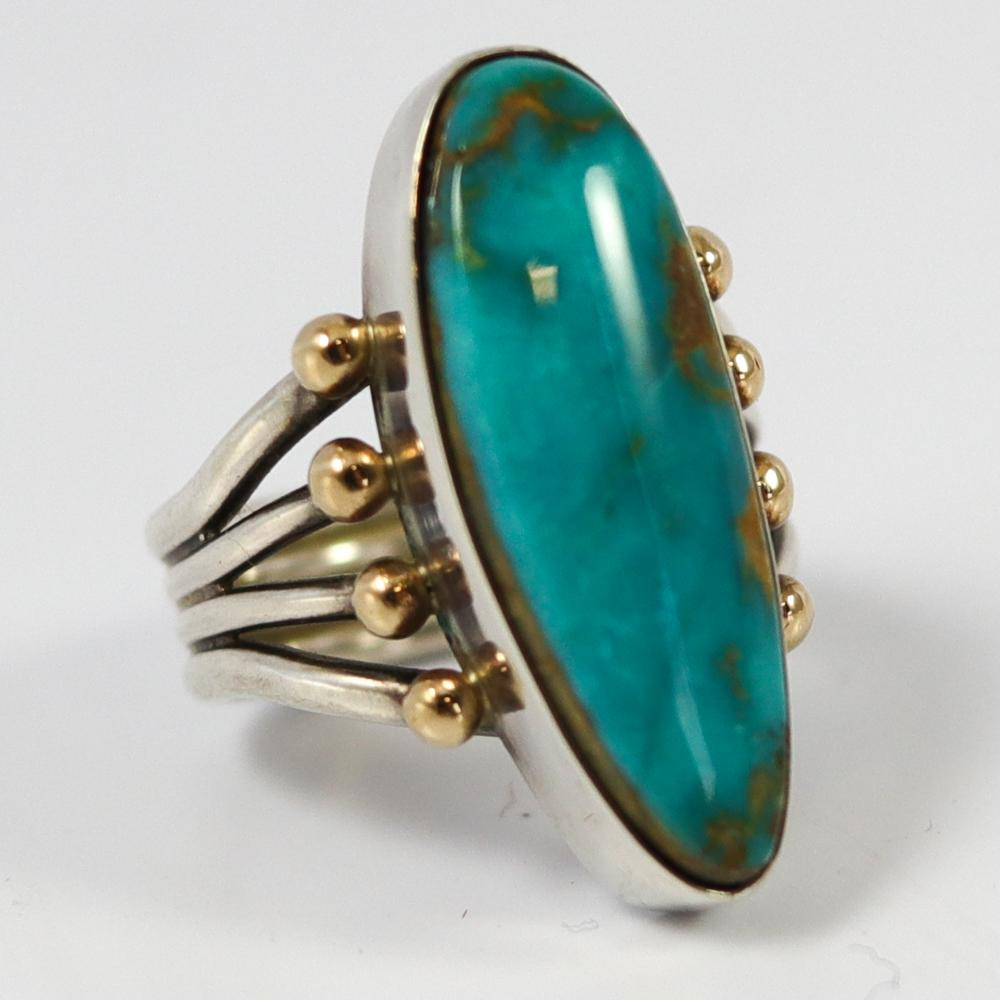 Gold on Silver Turquoise Ring