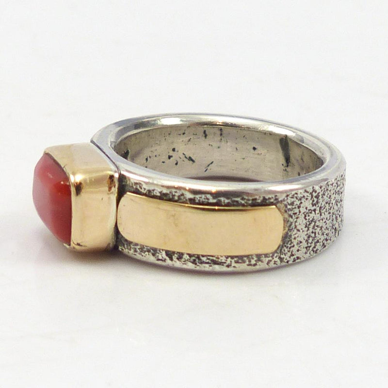 Gold and Silver Coral Ring